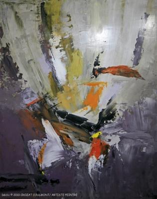 Tableau Abstrait- Original Art Peinture (Enduit de Chaux/ bois)