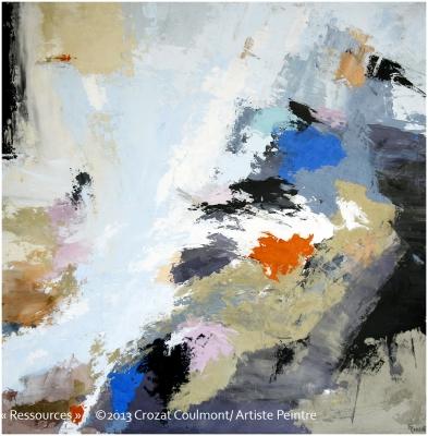 Tableau d'Art Abstrait- Peinture Unique (Enduit de Chaux/ bois)