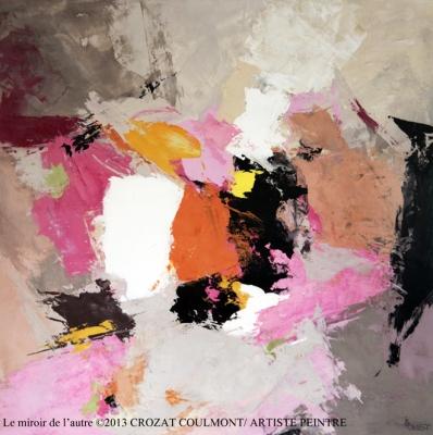 France Peintres- Oeuvre abstraite unique (Enduit de chaux/ bois)