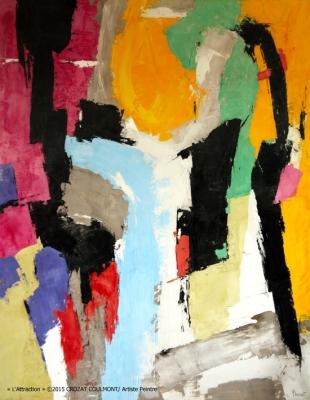 Peinture d'Art Abstrait- Oeuvre Unique (Enduit de chaux/ bois)